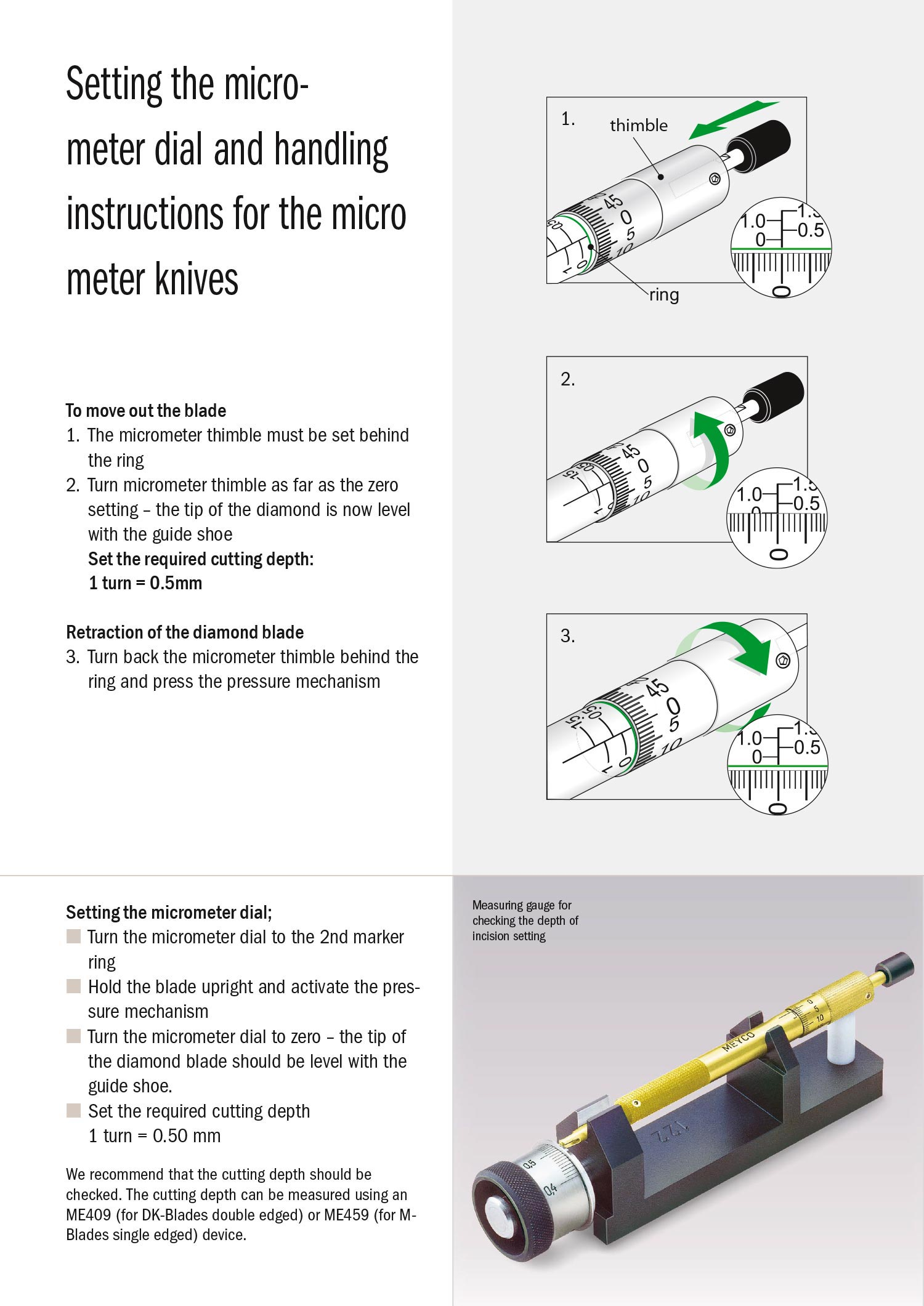 Setting the micrometer dial and handling instructions for the micrometer knives
